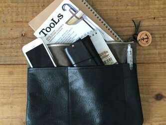pokke オリーブ(タンニン染め帆布×杤木レザーバッグインバッグ、ポーチ)の画像