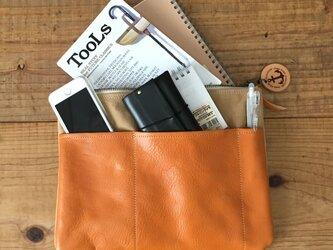 pokke タン(タンニン染め帆布×杤木レザーバッグインバッグ、ポーチ)の画像