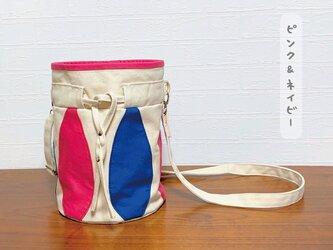 まんまる型の帆布かばん*ピンク&ネイビーの画像