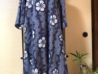着物リメイク絞り風浴衣のAラインワンピースの画像