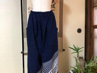 着物リメイク:アンティーク浴衣のゆったりモンペ風パンツの画像