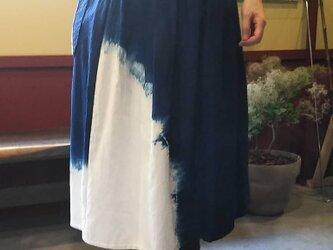 夏に爽やか藍染スカート♪おとな女子にお奨めします80㎝丈の画像