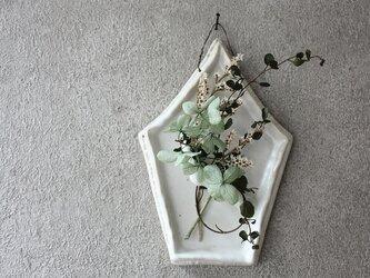 陶の壁掛け(5角・白)の画像