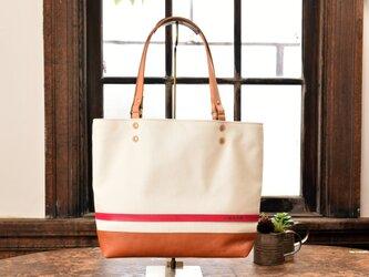【女性人気】革と高島産帆布で作ったトートバッグ ホワイト×ピンク Lサイズの画像