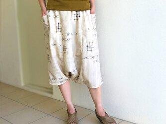 着物リメイク、絣プリントサルエルパンツ、70cm丈の画像