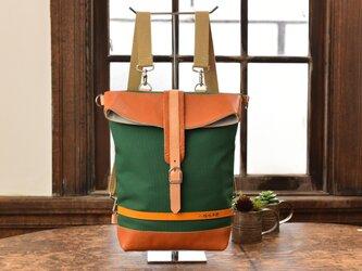 【ナチュラルカラー】革と高島帆布の2wayリュック グリーン Mサイズの画像