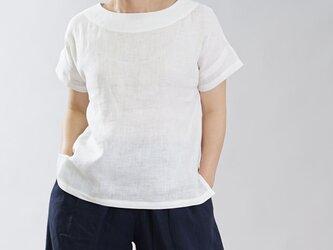 【wafu】薄地 リトアニアリネン Tシャツ トップス ドロップショルダー ブラウス / ホワイト t001f-wht1の画像