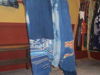 古布リメイク藍自然染とのぼり旗でゆったりふんわり♪柔らか大人のサルエルパンツの画像