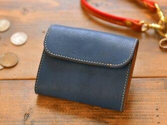 栃木レザーで作ったコンパクトなミニ財布 ブルーの画像