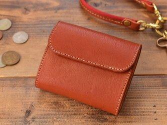 栃木レザーで作ったコンパクトなミニ財布 レッドキャメルの画像