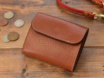 上質なイタリアレザーで作ったコンパクトなミニ財布  ブラウンの画像