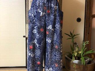 着物リメイク:アンティーク浴衣のワイドパンツの画像
