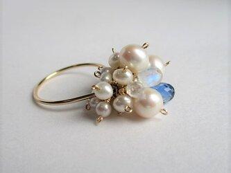 淡水真珠&カイヤナイトリング14Kgfの画像