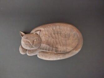 木彫り 菓子皿 睨み猫 『それでも 食べられますか?!』の画像