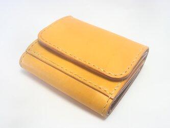 ♪レザー ミニマルウォレット 小さい財布 ボタン留め イエロー♪の画像