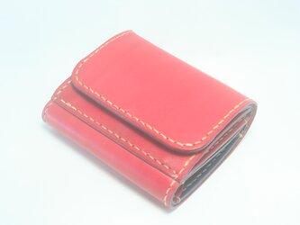 ♪レザー ミニマルウォレット 小さい財布 ボタン留め レッド♪の画像