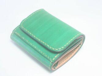 ♪レザー ミニマルウォレット 小さい財布 ボタン留め グリーン♪の画像