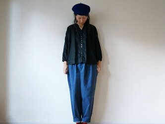 French linen button gather blouse BLACKの画像