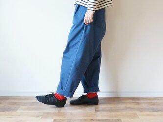 Premium denim tack pantsの画像