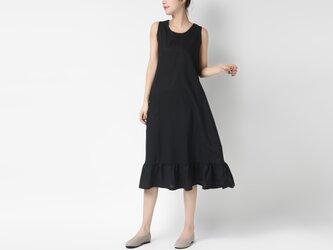 綿麻生地 大人可愛い裾フレアノースリーブワンピースの画像