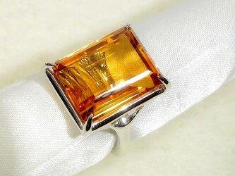 11.34ctシトリンとSV925の指輪(リングサイズ:10号、ロジウムメッキ、11月の誕生石、暖かい夕陽色のオレンジ)の画像