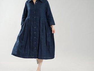 【wafu】薄地 リネンワンピース 2way 前開きシャツカラータックドレス 袖スリット / ネイビー a013j-neb1の画像