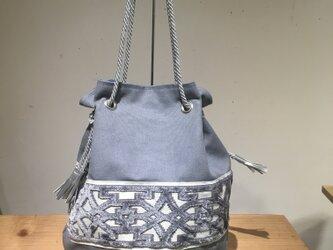 gray:帆布✖インテリアブレードの巾着バックの画像
