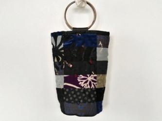 着物リメイク パッチワーク リングハンドルバッグ  青の画像