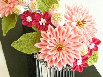 つまみ細工 花簪(かんざし) 対 ピンクの画像