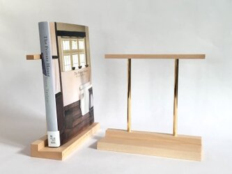 ブックエンド(木と真鍮、本立て)の画像