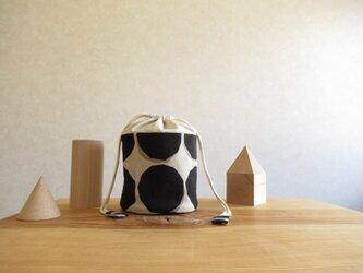 コロンとしたの小物入れ(筒形) 水玉、黒の画像