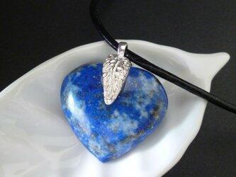 ハートのラピスラズリ - silver feather necklaceの画像