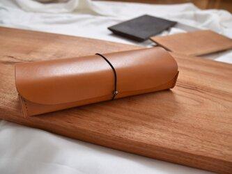 革の筆箱 茶の画像