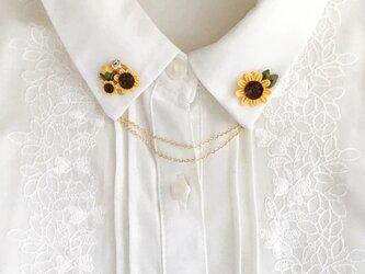 ひまわりの襟ブローチ -つまみ細工-の画像