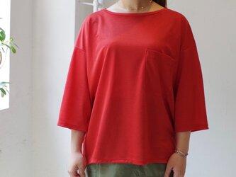 """ゆったりシルエットポケットロンT 8分袖   """"red""""の画像"""