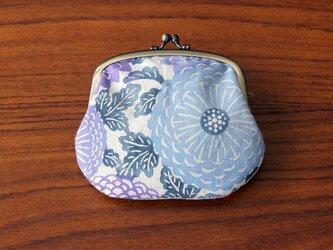 型染め 親子がま口(菊紋様 青紫)の画像