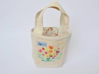 世界に1つの手刺繍・ミニバケツトートバッグ♪の画像