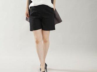 【wafu】中厚 リネンパンツ ショートパンツ ハーフパンツ ウエストゴム ポケット有 / ブラック b012a-bck2の画像