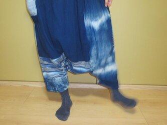 古布+藍染め木綿でリメイク★大人女子のおしゃれサルエルパンツの画像