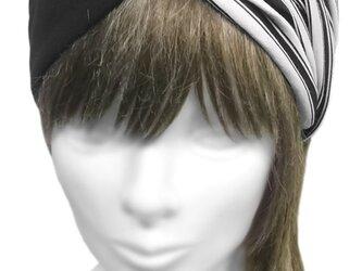 クロスワイドヘアバンド◆コットンニット /ボーダー柄×ブラックの画像