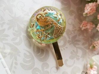 チェコガラスボタン 鳥のポニーフックの画像