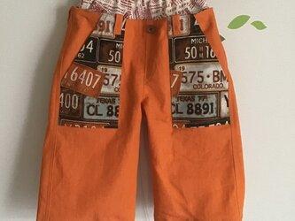*110cm*ストレッチデニムのダブルウエストパンツ(オレンジ)の画像