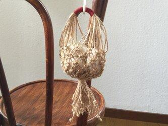 マクラメ編みのにんにくストッカー(S) / 手芸用麻糸で♪の画像