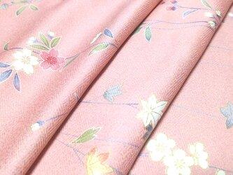 正絹 着物地 はぎれ【草花模様】ピンク 50cmの画像