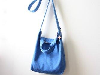 バイオウォッシュ 8号帆布の2wayショルダーバッグ☆M☆ブルーの画像
