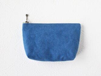 バイオウォッシュ8号帆布のシンプルポーチ☆ブルー☆Sサイズの画像