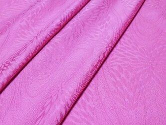 正絹 着物地 はぎれ【流水と菊模様】赤みのあるピンク 50cmの画像