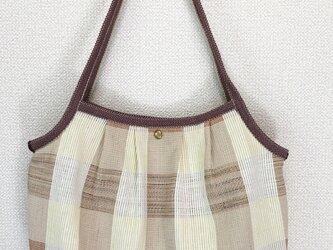 裂き織り グラニーバッグ(ブロックチェック)和風の画像