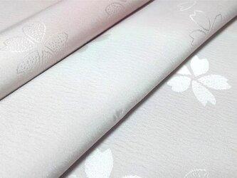正絹 長襦袢地 綸子 はぎれ【桜模様織り出し】紫 50cmの画像