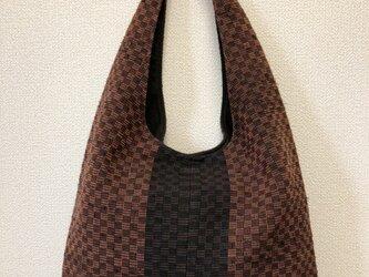 裂き織り ショルダーバッグ ワンハンドル(市松模様)の画像